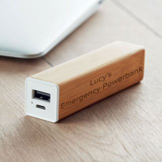 personalised bamboo powerbank